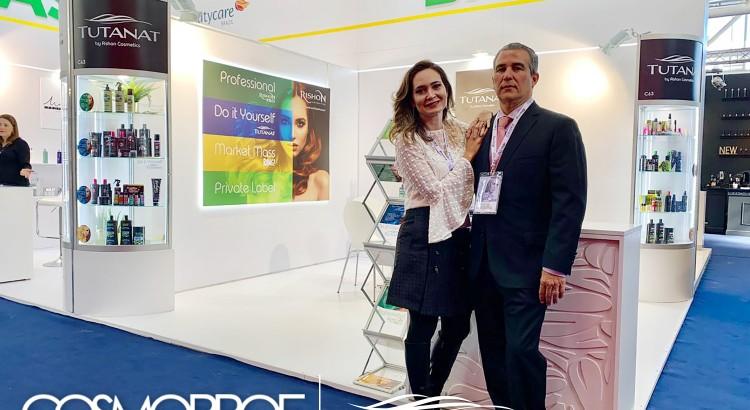 Foto: Marcelle Sultanum, CEO da Rishon Cosméticos e Carlos Eduardo Loyo CFO da Rishon Cosméticos na Cosmoprof Bolonha 2019